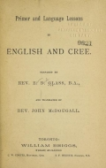 Cover of Primer and language lessons in English and Cree