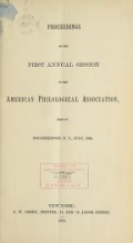 Cover of Proceedings of the ... annual session of the American Philological Association 1st-8th (1869-1876)