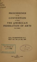 Cover of Proceedings of the convention at which the American federation of arts was formed