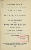 Cover of Proper lessons from the Old Testament for the Sundays and other holy days throughout the year