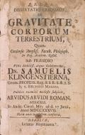 Cover of Q.F.F.Q.S. Dissertatio gradualis, De gravitate corporum terrestrium