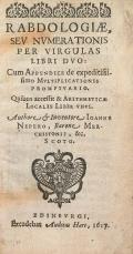 Cover of Rabdologiæ, seu numerationis per virgulas libri duo