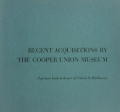 "Cover of ""Recent acquisitions by the Cooper Union Museum"""