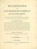 Cover of Recherches sur les ossemens fossiles de quadrupèdes - où l'on rétablit les caractères de plusieurs espèces d'animaux que les révolutions du glob