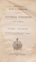 Cover of Report of commissioner to attend the Universal Exposition of 1867, at Paris, France