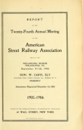 "Cover of ""Report of the ... Annual Meeting of the American Street Railway Association"""