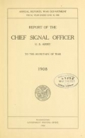 """Cover of """"Report of the Chief Signal Officer, United States Army, to the Secretary of War."""""""