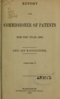 """Cover of """"Report of the Commissioner of Patents for the year"""""""
