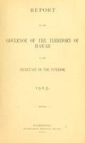 Cover of Report of the Governor of the Territory of Hawaii