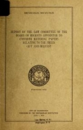 "Cover of ""Report of the law committee of the board of regents appointed to consider material papers relating to the freer gift and bequest."""
