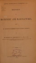 Cover of Report on machinery and manufactures
