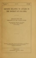 Cover of Reports relating to affairs in the District of Columbia