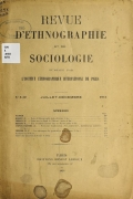 Cover of Revue d'ethnographie et de sociologie v. 5 no.7/12 juillet/dec. 1914