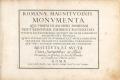Cover of Romanae magnitvdinis monvmenta