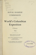 "Cover of ""Royal Siamese Commission to the World's Columbian Exposition"""
