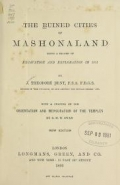 Cover of The ruined cities of Mashonaland