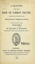 Cover of A selection from the Book of common prayer according to the use of the United Church of England and Ireland