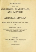 """Cover of """"Selections from the addresses, inaugurals, and letters of Abraham Lincoln"""""""