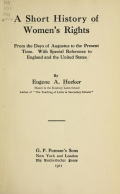 Cover of A short history of women's rights from the days of Augustus to the present time