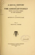 Cover of A social history of the American family from colonial times to the present