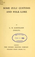 Cover of Some Zulu customs and folk-lore