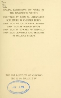 Cover of Special exhibitions of work by the following artists