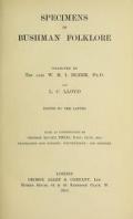 Cover of Specimens of Bushman folklore