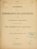 Cover of Statement of appropriations and expenditures from the national Treasury for public and private purposes in the District of Columbia, from July 16, 1790, to June 30, 1876