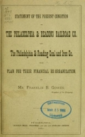 Cover of Statement of the present condition of the Philadelphia & Reading Railroad Co. and the Philadelphia & Reading Coal and Iron Co