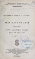 Cover of A supplemental descriptive catalogue of specimens of lace acquired for the South Kensington museum, between June 1880 and June 1890 By Alan S. Cole