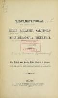 Cover of Testamenteteokak, Hiobib aglangit, Salomoblo imgerusersoanga tikkilugit