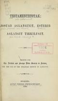 Cover of Testamentetotak; Josuab aglanginit, Esterib aglangit tikkilugit