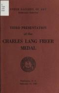 Cover of Third presentation of the Charles Lang Freer medal, September 15, 1965