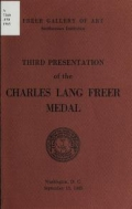 Cover of Third presentation of the Charles Lang Freer medal, September 15, 1965