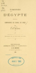 Cover of Timbres d'Égypte et de la Compagnie du Canal de Suez par J.-B. Moens