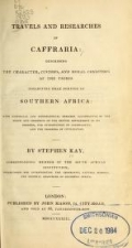 Cover of Travels and researches in Caffraria