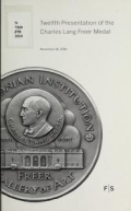 Cover of Twelfth presentation of the Charles Lang Freer Medal, November 18, 2010