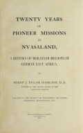 """Cover of """"Twenty years of pioneer missions in Nyasaland"""""""