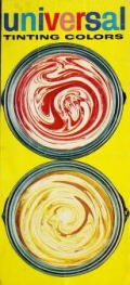 detail from the cover of a paint catalog showing two cans, viewed from above, with swirling paint colors inside