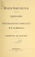 Cover of Verzeichniss der ornithologischen Sammlungen E.F. von Homeyer's
