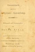 """Cover of """"Verzeichniss meiner Insecten-Sammlung c. 1"""""""