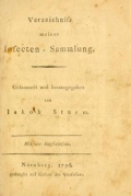 Cover of Verzeichniss meiner Insecten-Sammlung c. 1