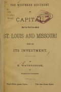 Cover of The westward movement of capital