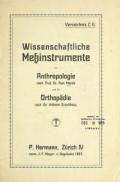 Cover of Wissenschaftliche Messinstrumente fulr Anthropologie nach Prof. Dr. Rud. Martin und fulr Orthopaldie nach Dr. Wilhelm Schulthess