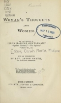 Cover of A woman's thoughts about women