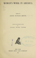 Cover of Woman's work in America