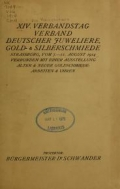 Cover of XIV i.e. Vierzehnter Verbandstag Verband deutscher Juweliere, Gold- & Silberschmiede Strassburg, vom 7.-11. August 1914
