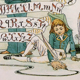 a boy in breeches and high waistcoat draws on the floor with a quill. the alphabet is behind him written on a horizontal scroll