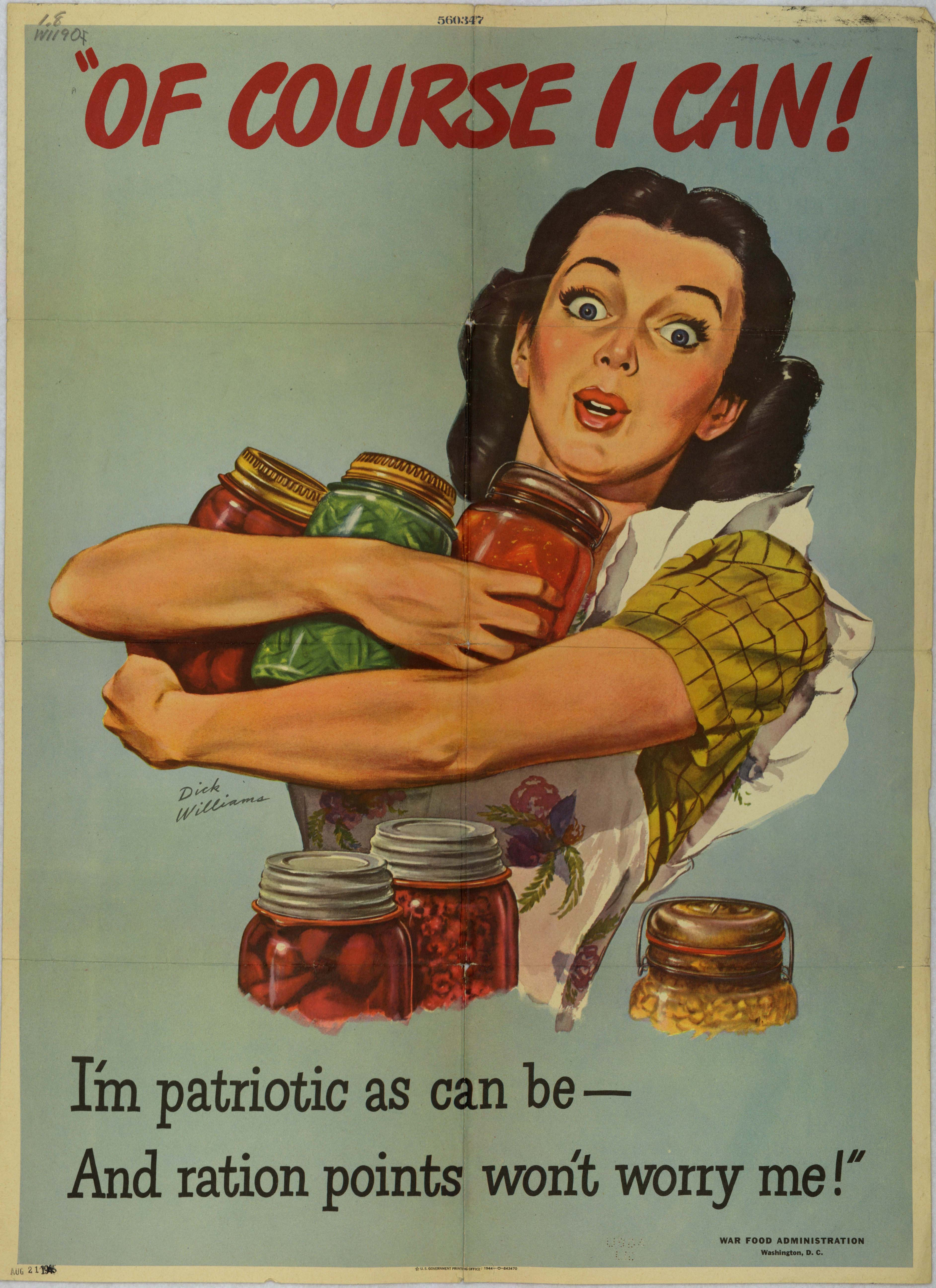 "War Food Administration poster, ""Of course I can..."" (USDA, National Agricultural Library)"