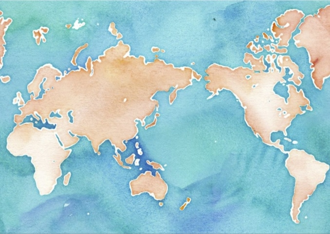 A watercolor map of the earth with Asia, Europe and Africa on the left and North and South America on the right.